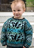 Knitted childs sweater with bird pattern from Sånga church