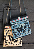 Knitted purse with bird pattern from Sånga church